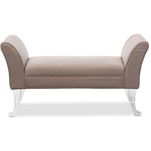 Baxton Studio Irwin Modern and Contemporary Beige Linen Upholstered Lux Flared Arms Ottoman Bench with Flared Acrylic Legs Baxton Studio-benches-Minimal And Modern - 1