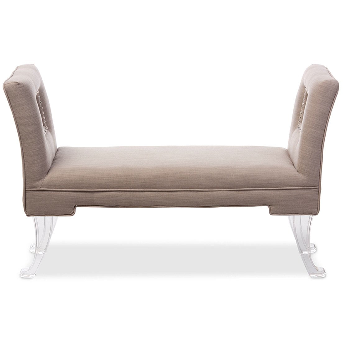 Baxton Studio Bessie Modern and Contemporary Beige Linen Upholstered Lux Flared Arms Ottoman Bench with Flared Acrylic Legs Baxton Studio-benches-Minimal And Modern - 1