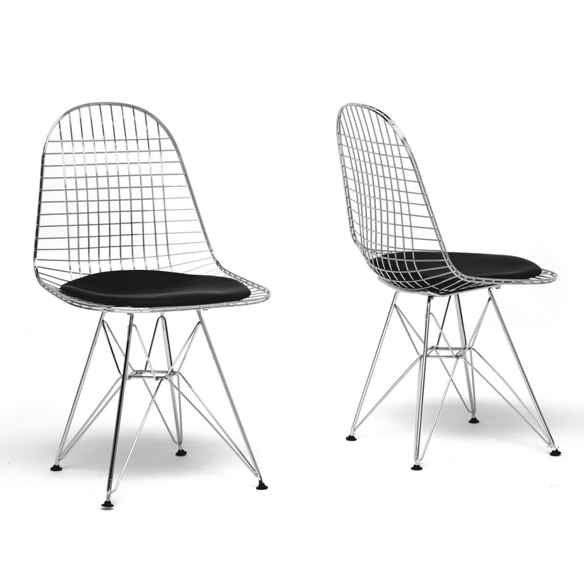 Baxton Studio Avery Mid-Century Modern Wire Chair with Black Cushion (Set of 2) Baxton Studio-dining chair-Minimal And Modern - 1