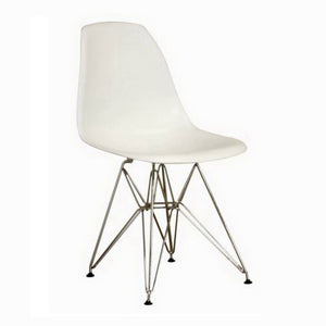 Baxton Studio Azzo White Plastic Mid-Century Modern Side Chair  (Set of 2) Baxton Studio-dining chair-Minimal And Modern - 1