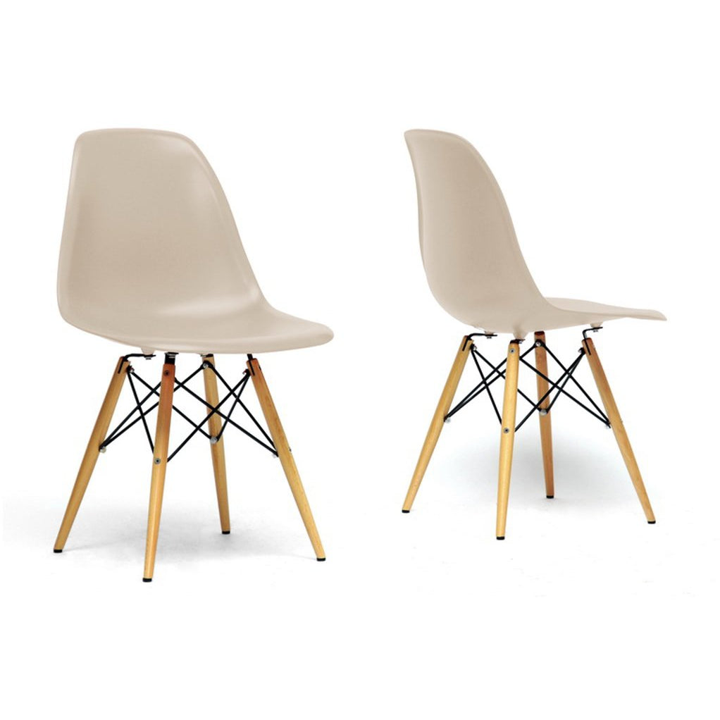 Baxton Studio Azzo Beige Plastic Mid-Century Modern Shell Chair (Set of 2) Baxton Studio-dining chair-Minimal And Modern - 1