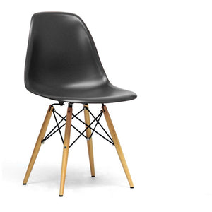 Baxton Studio Azzo Black Plastic Mid-Century Modern Shell Chair  (Set of 2) Baxton Studio-dining chair-Minimal And Modern - 1