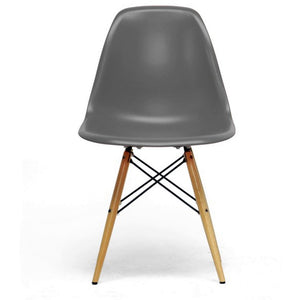 Baxton Studio Azzo Grey Plastic Mid-Century Modern Shell Chair (Set of 2) Baxton Studio-dining chair-Minimal And Modern - 2