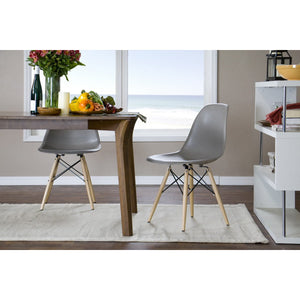 Baxton Studio Azzo Grey Plastic Mid-Century Modern Shell Chair (Set of 2) Baxton Studio-dining chair-Minimal And Modern - 4
