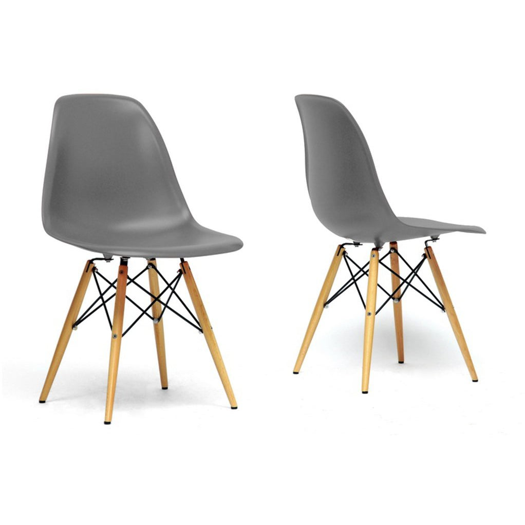 Baxton Studio Azzo Grey Plastic Mid-Century Modern Shell Chair (Set of 2) Baxton Studio-dining chair-Minimal And Modern - 1