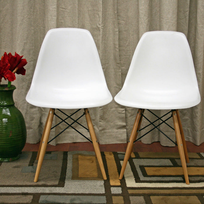 Baxton Studio Azzo White Plastic Mid-Century Modern Shell Chair  (Set of 2) Baxton Studio-dining chair-Minimal And Modern - 1