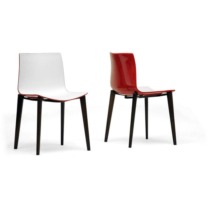 Baxton Studio Soren White and Red Modern Dining Chair (Set of 2) Baxton Studio-dining chair-Minimal And Modern - 1