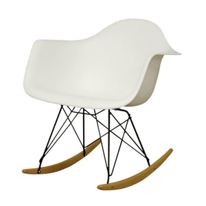 Baxton Studio Dario White Plastic Mid-Century Modern Rocking Chair Baxton Studio-chairs-Minimal And Modern - 1