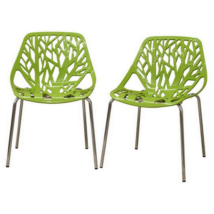 Baxton Studio Modern Birch Sapling Green Finished Plastic Dining Chair (Set of 2) Baxton Studio-dining chair-Minimal And Modern - 1