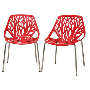 Baxton Studio Modern Birch Sapling Red Finished Plastic Dining Chair (Set of 2) Baxton Studio-dining chair-Minimal And Modern - 1