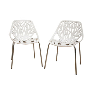 Baxton Studio Modern Birch Sapling White Finished Plastic Dining Chair (Set of 2) Baxton Studio-dining chair-Minimal And Modern - 1