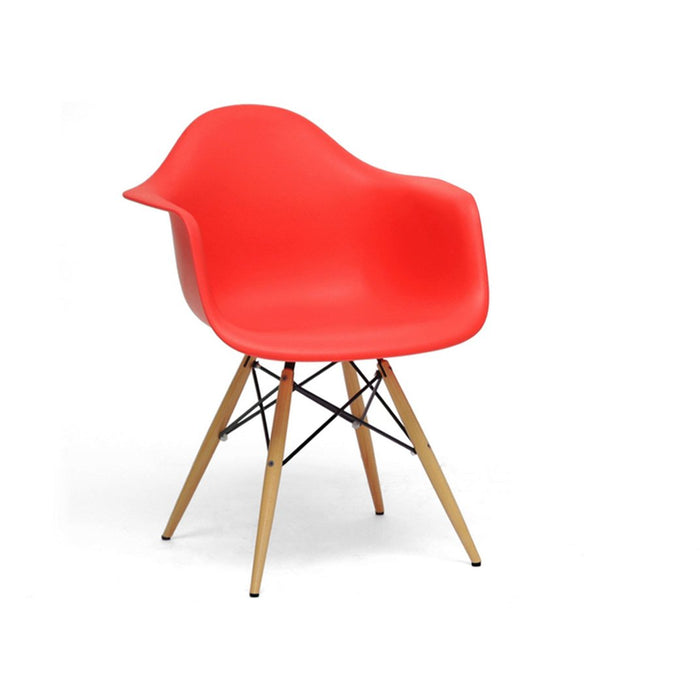 Baxton Studio Pascal Red Plastic Mid-Century Modern Shell Chair  (Set of 2) Baxton Studio-dining chair-Minimal And Modern - 1