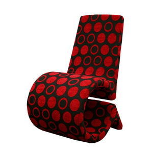 Baxton Studio Forte Red and Black Patterned Fabric Accent Chair (Set of 2) Baxton Studio-chairs-Minimal And Modern - 1