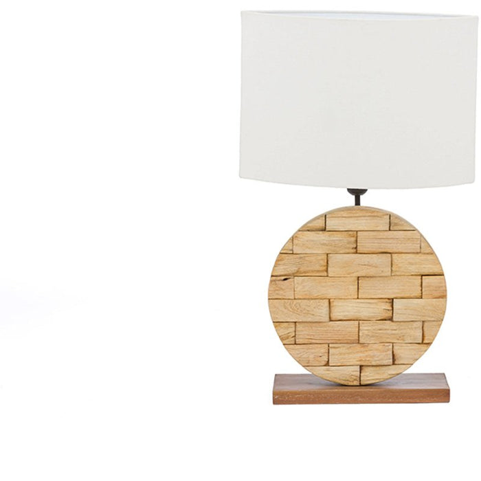 Baxton Studio Budalin Wood & White Linen Lamp Baxton Studio--Minimal And Modern - 1