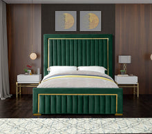Meridian Furniture Dolce Green Velvet Queen Bed (3 Boxes)