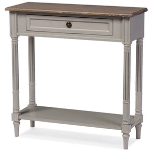 Baxton Studio Edouard French Provincial Style White Wash Distressed Two-tone 1-drawer Console Table Baxton Studio-side tables-Minimal And Modern - 2