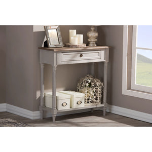 Baxton Studio Edouard French Provincial Style White Wash Distressed Two-tone 1-drawer Console Table Baxton Studio-side tables-Minimal And Modern - 4