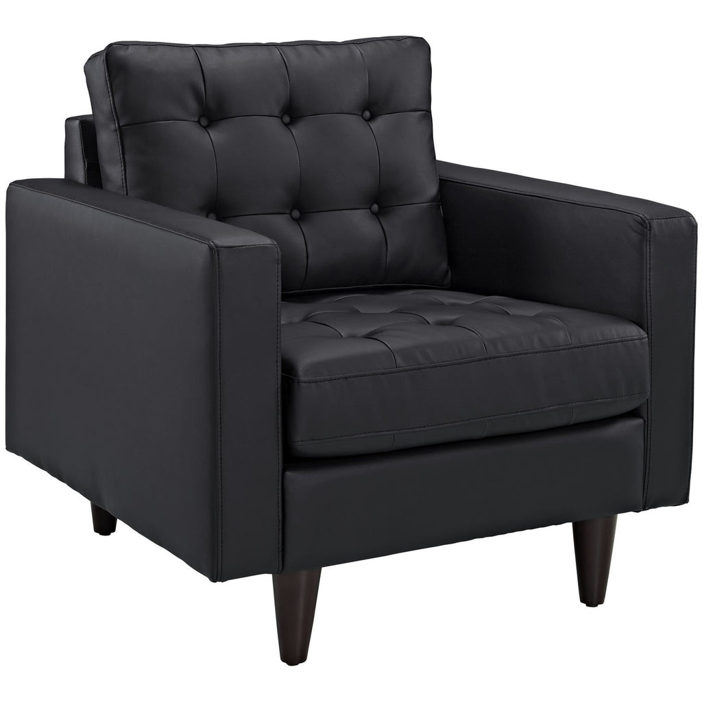 Modway Furniture Empress Leather Armchair Black, Armchair - Modway Furniture, Minimal & Modern - 1