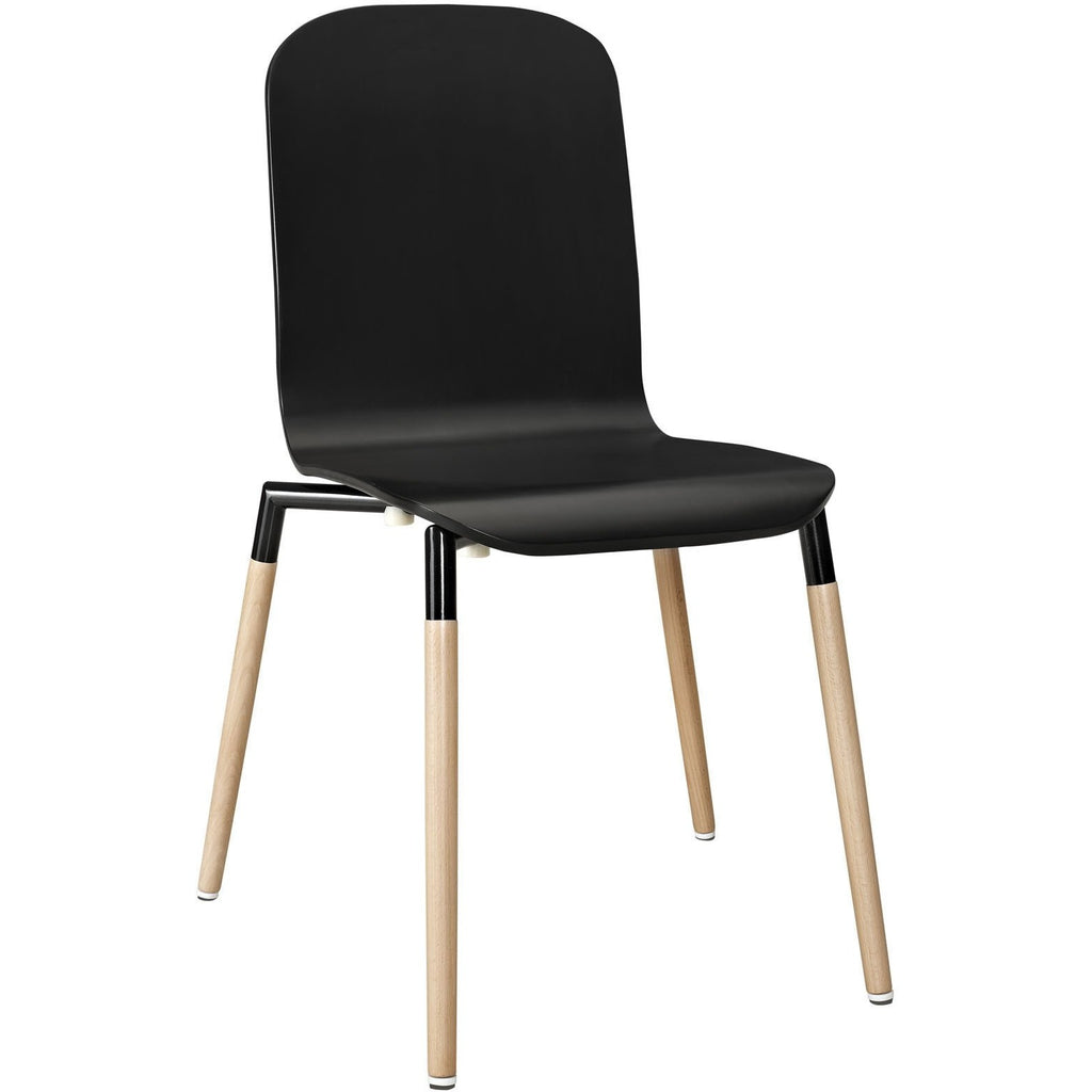 Modway Furniture Stack Modern Dining Wood Side Chair Black, Dining Chairs - Modway Furniture, Minimal & Modern - 1