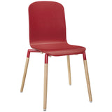 Modway Furniture Stack Modern Dining Wood Side Chair Red, Dining Chairs - Modway Furniture, Minimal & Modern - 5