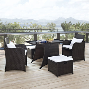 Modway Furniture Artesia 5 Piece Outdoor Patio Dining Set EEI-1059-BRN-WHI-Minimal & Modern