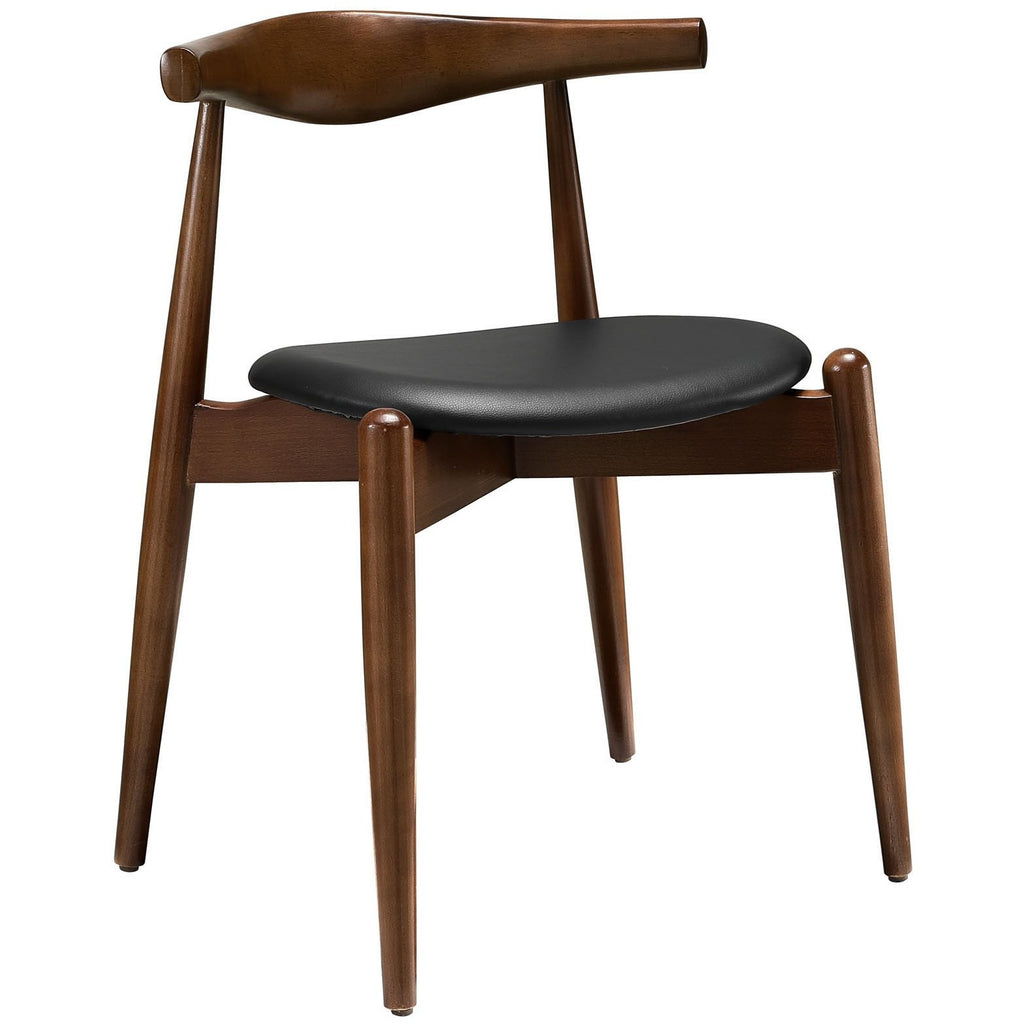 Modway Furniture Stalwart Modern Dining Side Chair Dark Walnut Black, Dining Chairs - Modway Furniture, Minimal & Modern - 1