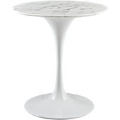 "28"" Artificial Marble White Circular Side Table , dining tables - Lanna Furniture, Minimal & Modern - 1"