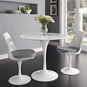 "36"" Artificial Marble Modern White Circular Dining Table - Eero Saarinen Replica-Minimal & Modern"