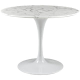 "Modway Furniture Lippa 40"" Artificial Marble Modern White Dining Table , dining tables - Modway Furniture, Minimal & Modern - 1"