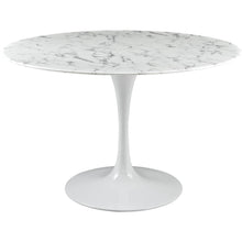 "47"" Artificial Marble Modern White Circular Dining Table , dining tables - Lanna Furniture, Minimal & Modern - 1"