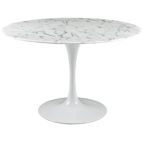 "Modway Furniture Lippa 47"" Artificial Marble Modern White Dining Table , dining tables - Modway Furniture, Minimal & Modern - 1"