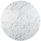 "60"" Artificial Marble Modern White Circular Dining Table , dining tables - Lanna Furniture, Minimal & Modern - 3"