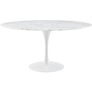 "60"" Artificial Marble Modern White Circular Dining Table - Eero Saarinen Replica-Minimal & Modern"