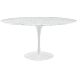 "60"" Artificial Marble Modern White Circular Dining Table , dining tables - Lanna Furniture, Minimal & Modern - 1"