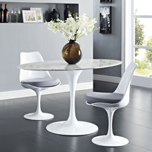 "54"" Oval-Shaped Artificial Marble Modern White Circular Dining Table - Eero Saarinen Replica-Minimal & Modern"