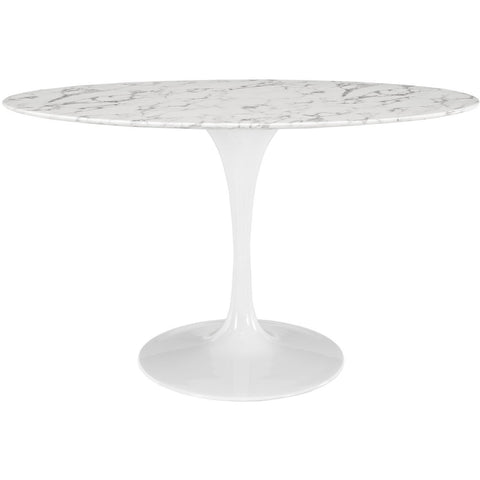 "54"" Oval-Shaped Artificial Marble Modern White Circular Dining Table , dining tables - Lanna Furniture, Minimal & Modern - 1"