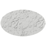 "60"" Oval-Shaped Artificial Marble Modern White Circular Dining Table , dining tables - Lanna Furniture, Minimal & Modern - 3"