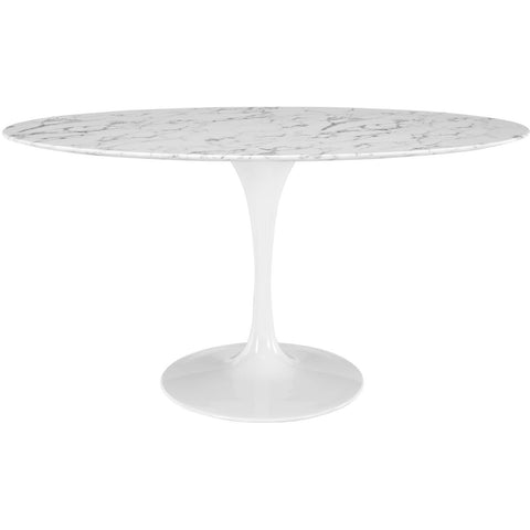 "60"" Oval-Shaped Artificial Marble Modern White Circular Dining Table , dining tables - Lanna Furniture, Minimal & Modern - 1"
