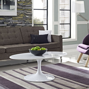 "Modway Furniture Modern Lippa 42"" Oval-shaped Wood Top Coffee Table in White EEI-1139-WHI-Minimal & Modern"
