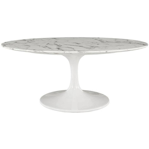 "Modway Furniture Modern Lippa 42"" Oval-Shaped Artificial Marble Coffee Table in White , coffee tables - Modway Furniture, Minimal & Modern - 1"