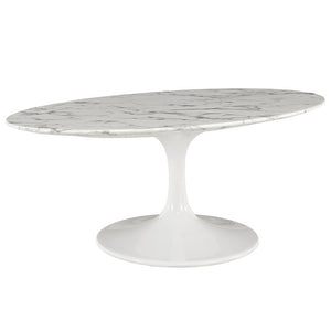 "Modway Furniture Modern Lippa 42"" Oval-Shaped Artificial Marble Coffee Table in White EEI-1140-WHI-Minimal & Modern"