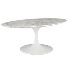 "42"" Oval-Shaped Circular Artificial Marble Coffee Table - Eero Saarinen Replica-Minimal & Modern"