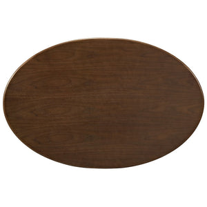 "Modway Furniture Modern Lippa 42"" Walnut Coffee Table in Walnut Veneer & White Base EEI-1141-WAL-Minimal & Modern"