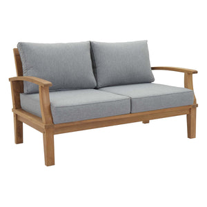 Modway Furniture Modern Marina Outdoor Patio Teak Loveseat in Natural White EEI-1144-NAT-WHI-SET - Minimal and Modern
