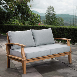 Modway Furniture Modern Marina Outdoor Patio Teak Loveseat in Natural White EEI-1144-NAT-WHI-SET