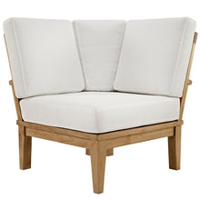 Modway Furniture Modern Marina Outdoor Patio Teak Wood Corner Sofa in Natural White EEI-1146-NAT-WHI-SET - Minimal and Modern