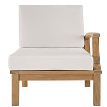 Modway Furniture Modern Marina Outdoor Patio Teak Left-facing Sofa in Natural White EEI-1149-NAT-WHI-SET