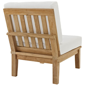 Modway Furniture Modern Marina Armless Outdoor Patio Teak Wood Sofa in Natural White EEI-1150-NAT-WHI-SET
