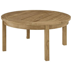 Modway Furniture Modern Marina Outdoor Patio Teak Round Coffee Table in Natural EEI-1153-NAT-Minimal & Modern