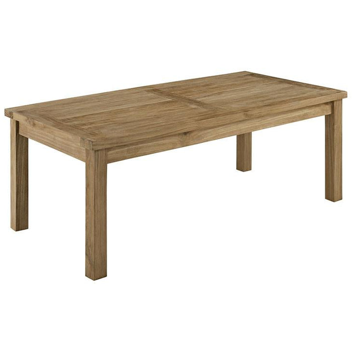 Modway Furniture Modern Marina Outdoor Patio Teak Wood Rectangle Coffee Table in Natural EEI-1154-NAT-Minimal & Modern